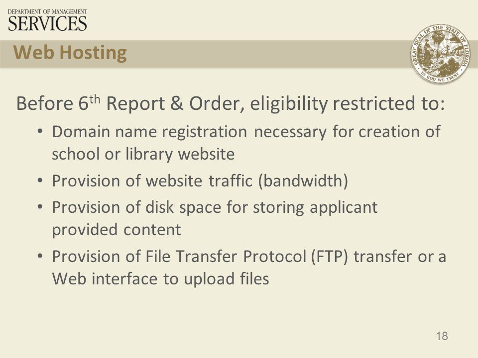 19 Web Hosting After 6 th Report & Order, eligibility open to: Allow additional functionality of discussion boards, instant messaging and chat However content remains ineligible, including searching of databases such as grade books, encyclopedias, etc.