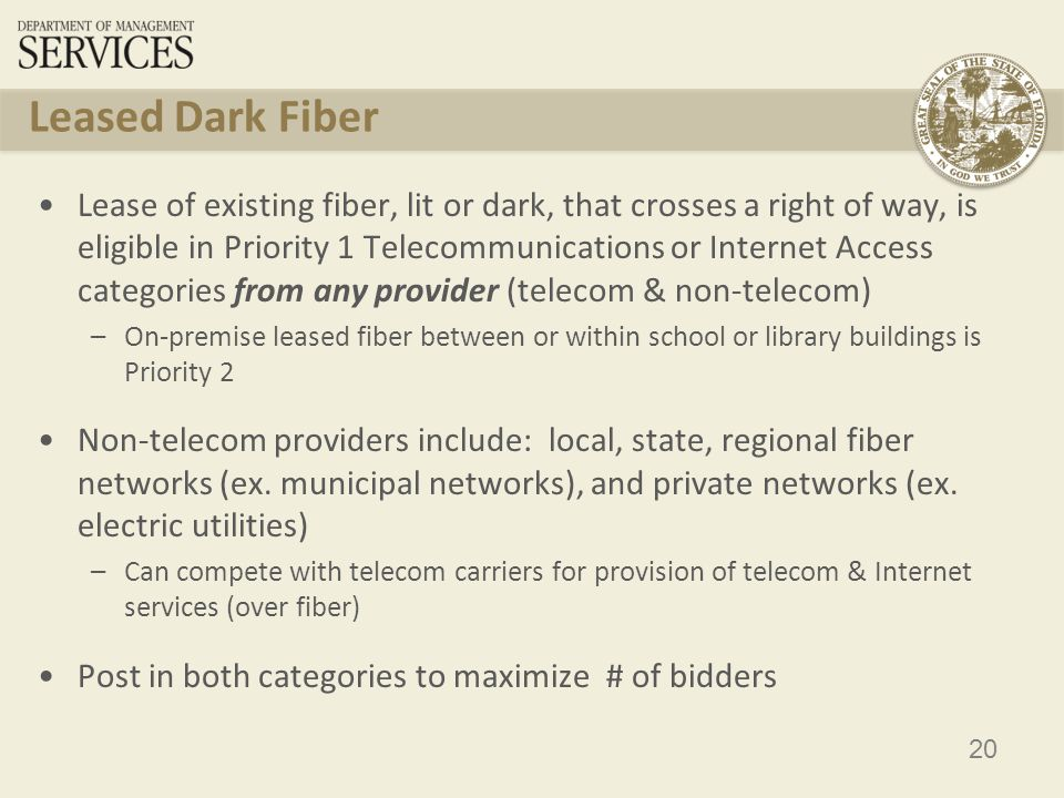 21 Leased Dark Fiber – 6 th Report & Order Construction charges from an eligible school or library to the property line eligible as Priority 1 –Installation charges from eligible entity to property line ARE eligible; Installation charges from eligible entity to fiber network outside of property line ARE NOT eligible Modulating equipment IS NOT eligible Dark fiber must be lit immediately Cannot purchase excess capacity for future growth