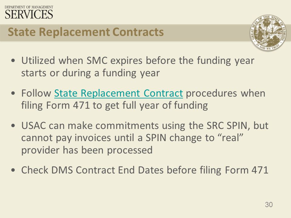 31 DMS State Master Contracts ServiceCompanySPINContract Number Allowable Contract Date Award Date Form 470 App # Contract End Date Effective Dates CENTREXBellSouth (dba AT&T) 143004824DMS 06/07- 086 1/30/20072/6/2007289460000 614029 1/31/20142/12007- 1/31/2014 CenturyLink143001444DMS 08/09- 057 12/17/20082/9/2009500440000 701829 1/4/20142/10/2009- 1/4/2014 Verizon143001435DMS 08/09- 071 2/25/20095/18/2009598350000 730295 5/21/20145/22/2009- 5/21/2014 Toll-Free Services (1- 800/888) DeltaCom143001196DMS 08/09- 078 3/9/20093/23/2009839180000 733215 3/19/20144/10/2009- 3/19/2014 Long Distance Qwest143001157MA 211410/31/20033/22/2004115340000 458286 3/21/20143/22/2004- 3/21/2014 Long Distance EarthLink Business 143001196DMS 10/11- 036 7/29/20119/9/2011889440000 927431 9/8/20169/9/2011- 9/8/2016