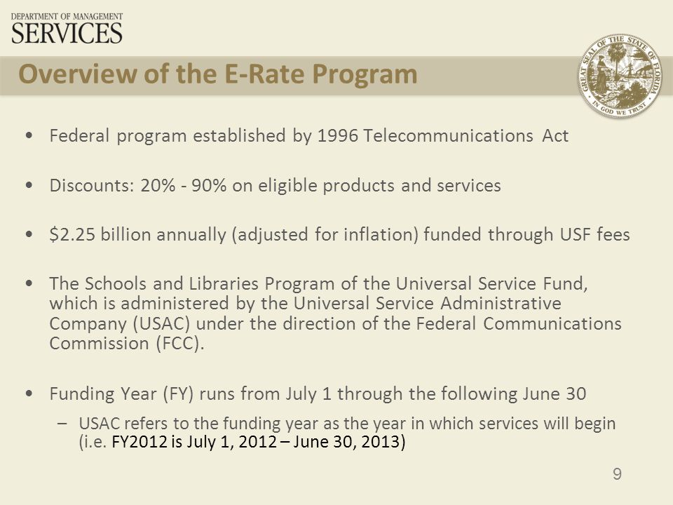 10 Simple Overview of E-Rate for Applicants Create Technology Plan File Form 470 (RFP) Wait 28 days File Form 471 PIA Review and FCDL File Form 486 Submit invoices to USAC Funds disbursed