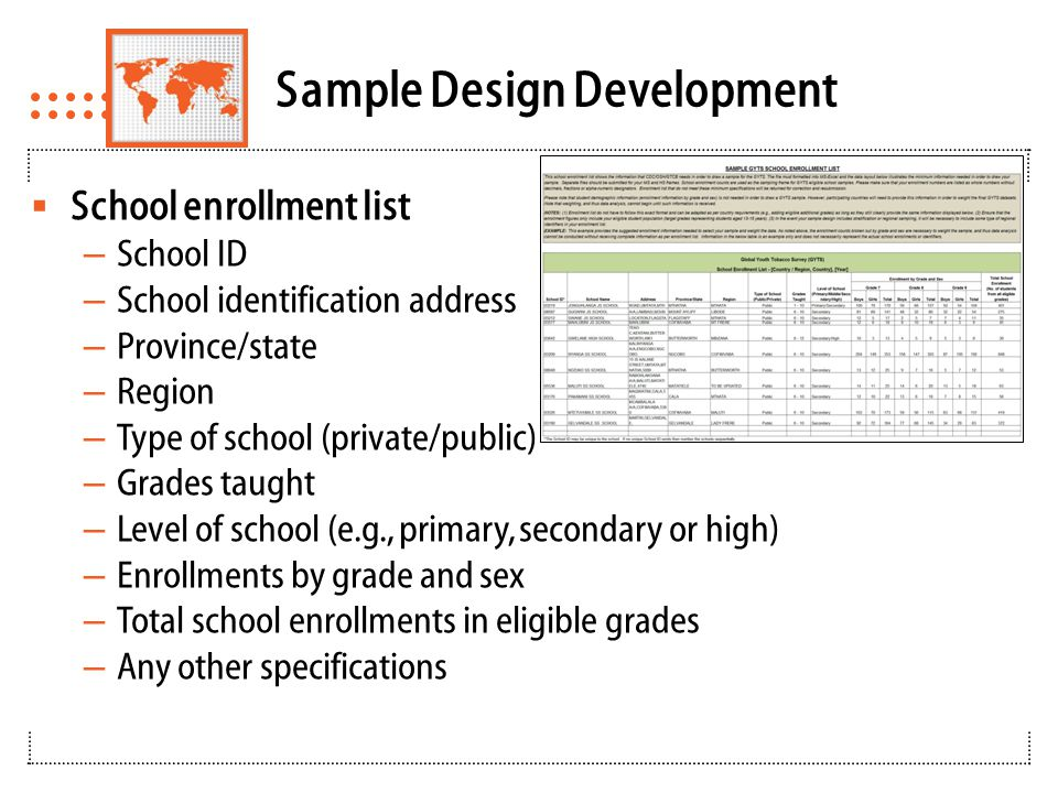 Sample Selection Using PC Sample  School selection using PC Sample software – Within- school selection worksheets  Selection of schools using probability proportional to school enrollment size – School ID uniquely identify a school from the list – Uses PPS systematic sampling – Measure of size is the number of eligible students in each school – Certainty (self-representing) schools based on sampling interval – Re-compute the sampling interval for selection of the remaining schools  Selection Classes and Students – Produces school-level forms and class-level forms for selection of classes – Generate sequence of systematic random numbers for class selection within each selected school  All the students in the class completes the survey