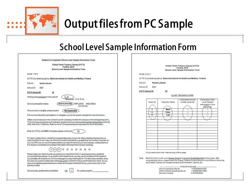 Class Selections Using School Level Sample Information Form
