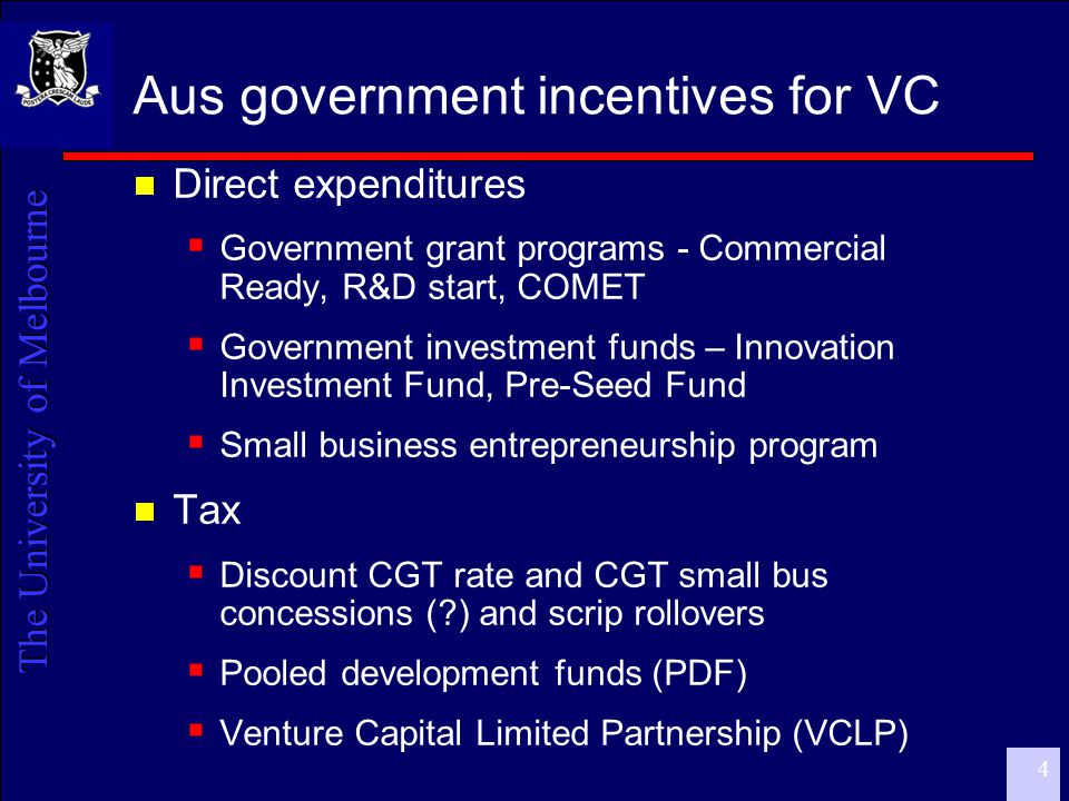 The University of Melbourne 5 Current policy environment  Current Budget cycle – May 2006  Reports not yet released to public  Venture Capital Review  PDF Board - internal reports  Howard Partners report on economic impact of investments over last 10 years  AVCAL  Active lobbying by VC managers  Growth-oriented SMEs are not DIRECTLY represented by an effective industry body
