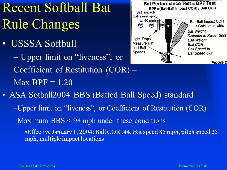 Kansas State University Biomechanics Lab Recent Baseball Bat Rule Changes Amateur Baseball – High School and College –Max barrel diameter 2.625 in (.067 m) –Max length 42 for wood, 36 for nonwood –Length-weight diff(< 3 units diff.) –Max Ball Exit Speed Ratio (BESR) – 94 or 97 MPH –Rules committee is considering a MOI rule