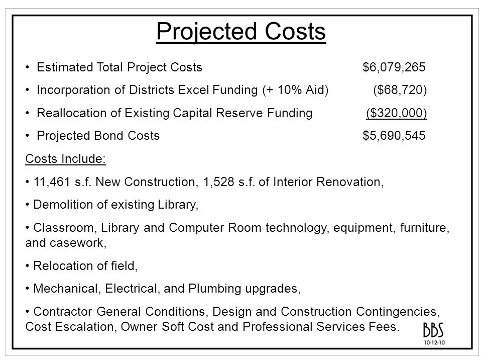 Potential Tax Impact Proposed Serial Bond First Year (2011-2012) Estimated Debt Service Current Assessment Tax Rate Per $1000 Annual Property Tax for Home with Assessed Value of $500,000$1,000,000$1,500,000 $5,690,545$465,0722212739300$0.2102105.09210.18315.27 Potential Tax Impact information is provided by Munistat Services Corporation based on a 5% interest rate and a 20 year bond period.