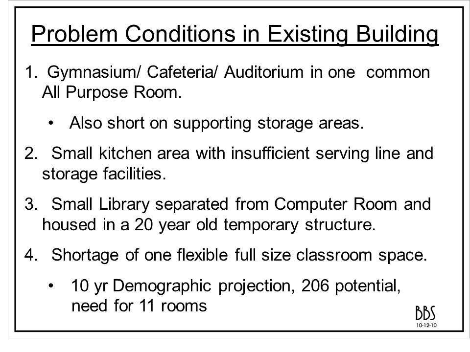 Problem Conditions in Existing Building 5.Science and Spanish require a full size room.