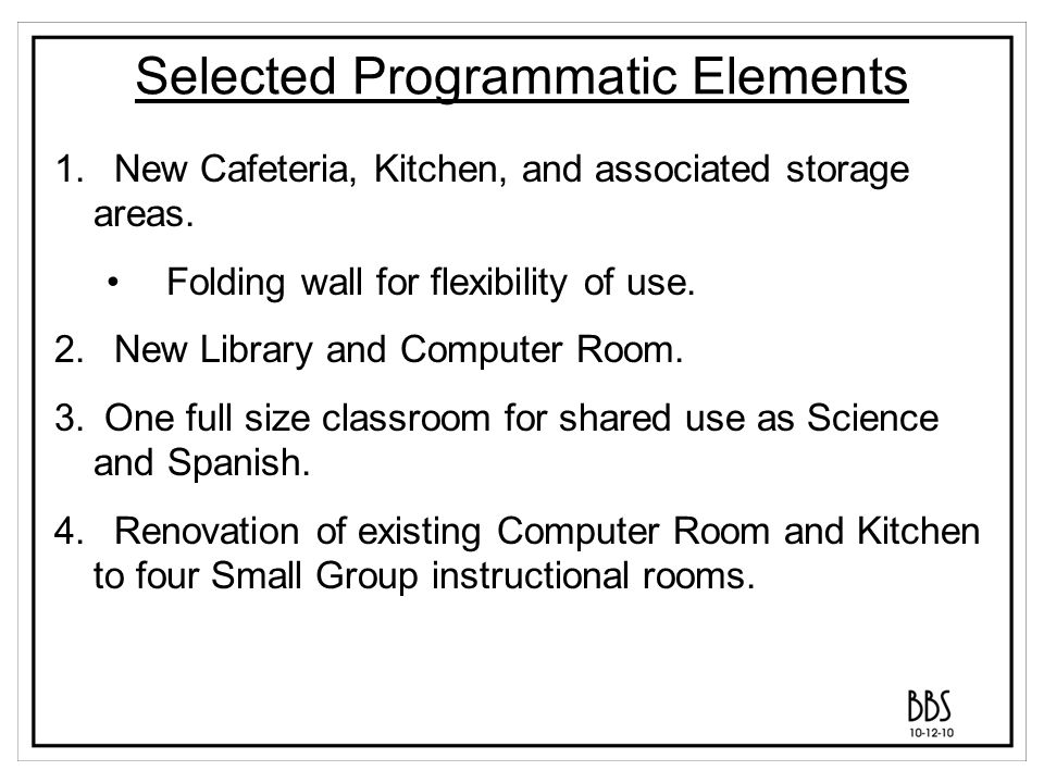 Selected Programmatic Elements 5.Replace office for Technology and supporting Network Closet.