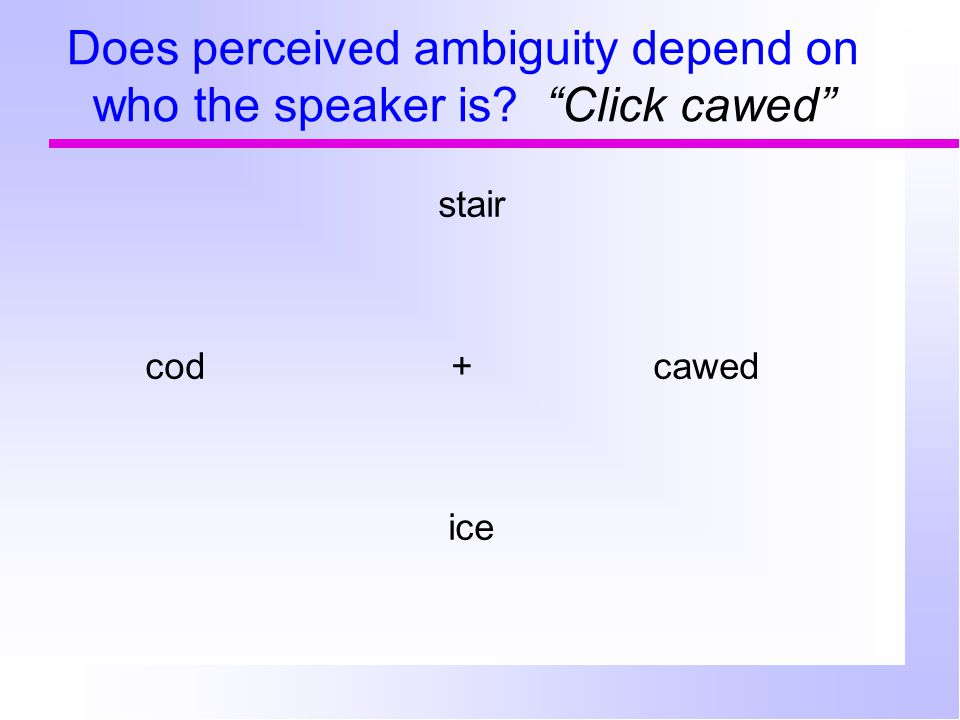 Does perceived ambiguity depend on who the speaker is? Click cawed stair cod+ cawed ice