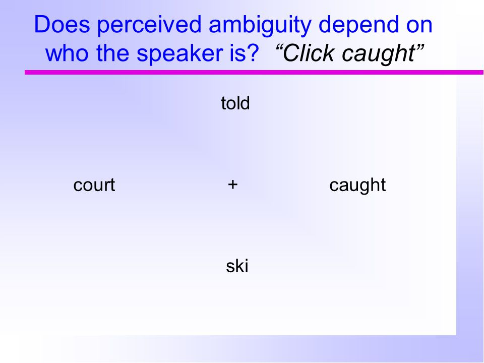 Does perceived ambiguity depend on who the speaker is? Click caught told court+ caught ski