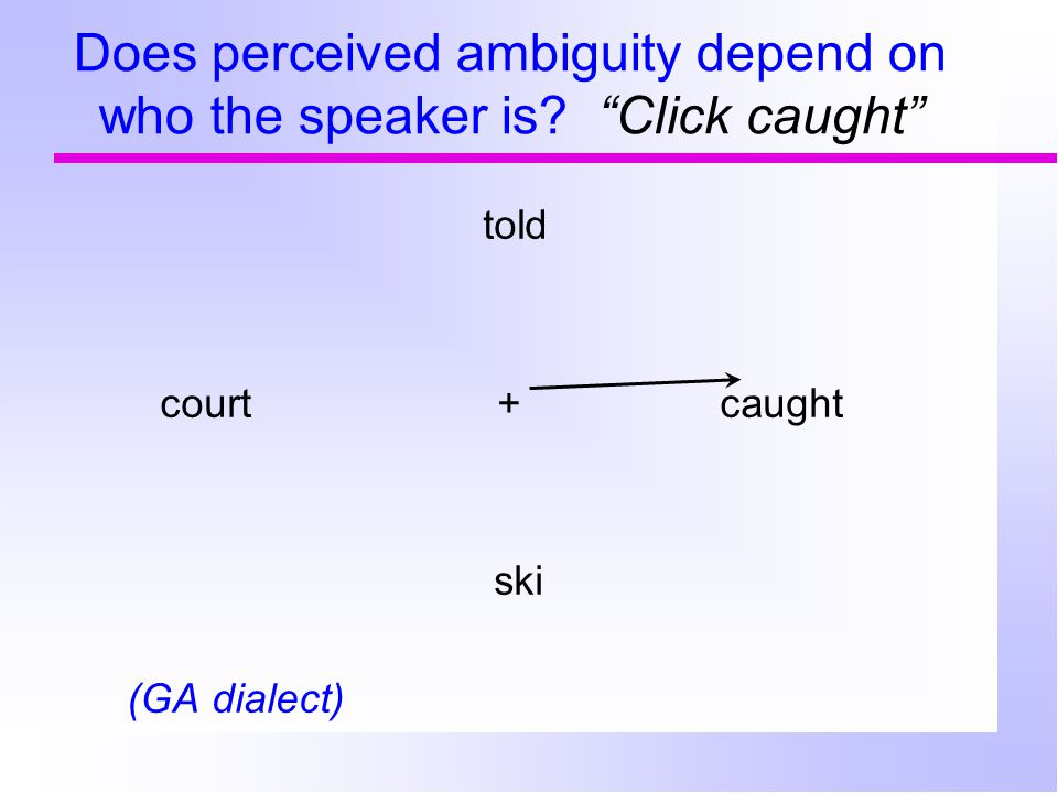 Does perceived ambiguity depend on who the speaker is.
