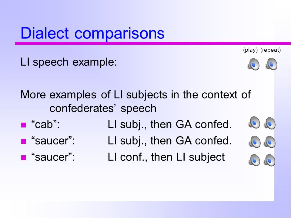 Dialect comparisons LI speech example: More examples of LI subjects in the context of confederates' speech cab : LI subj., then GA confed.
