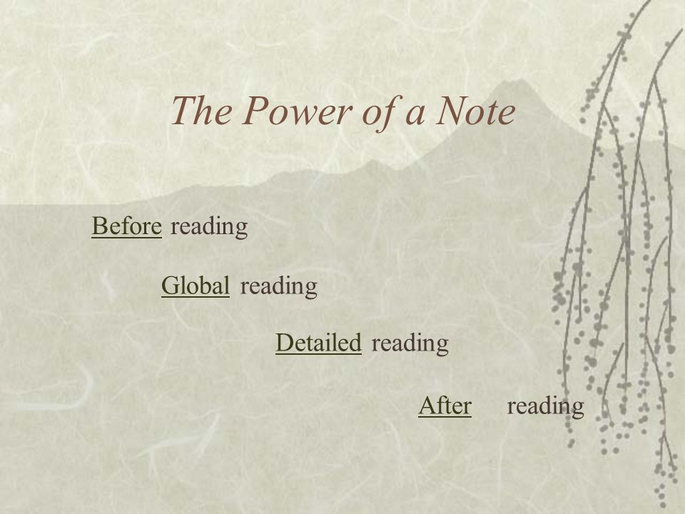 The Power of a Note BeforeBefore reading Global reading Global Detailed reading Detailed After reading After