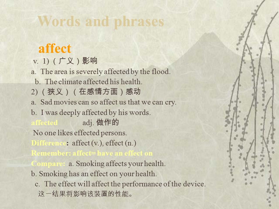affect v.1) (广义)影响 a. The area is severely affected by the flood.