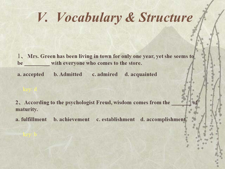 V.Vocabulary & Structure 1 、 Mrs.