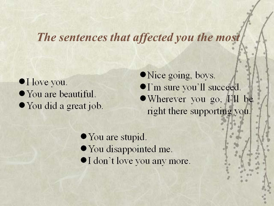 The sentences that affected you the most