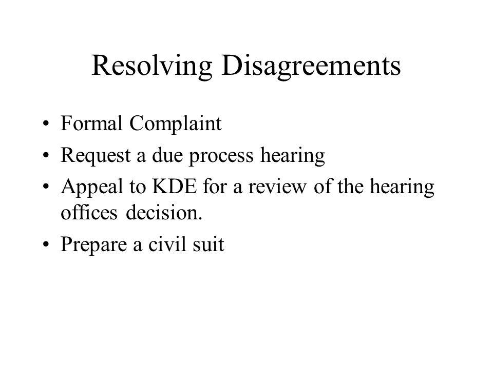 Resolving Disagreements