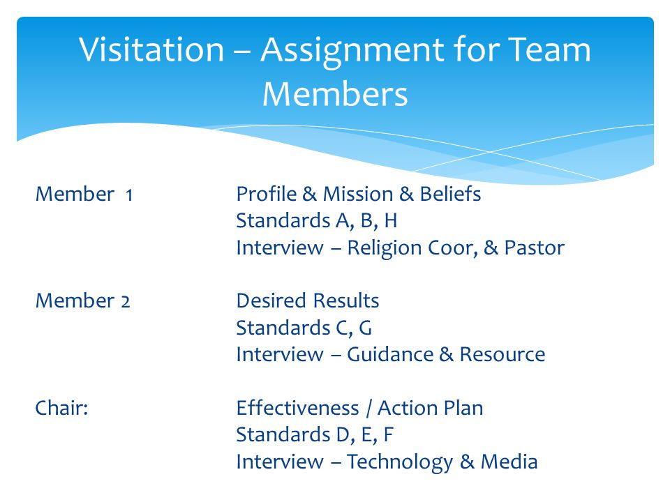 Pre-Visitation Mailing to Team Members Visitation Cover: Team Names & Addresses / Hotel Visitation Schedule Team Assignments Schedule for Interviews and Meetings