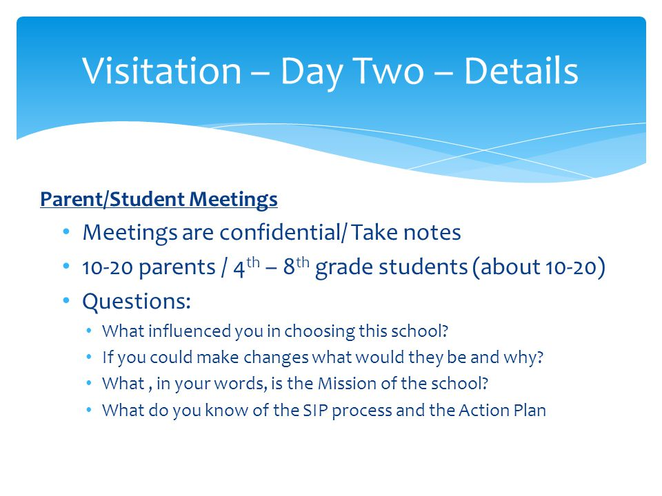 Visitation – Day Two – Details Personnel Interviews Describe your role and responsibilities.