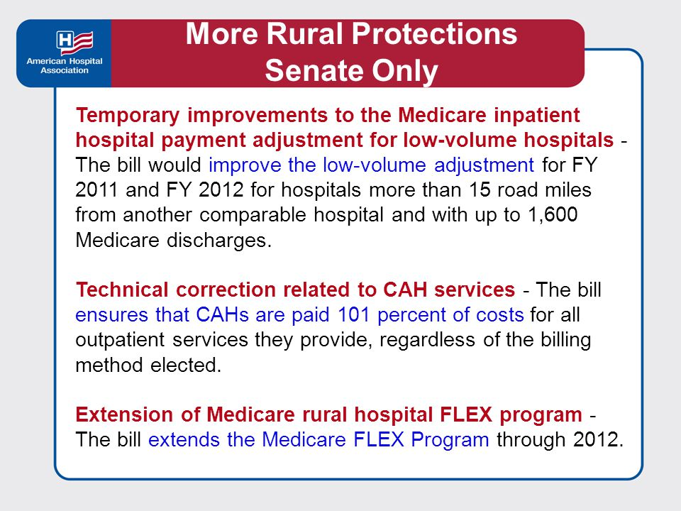 Improvements to the demo project on community health integration models - The bill would revise the demonstration that allows eligible entities to develop and test new models for the delivery of health care services in certain rural counties.