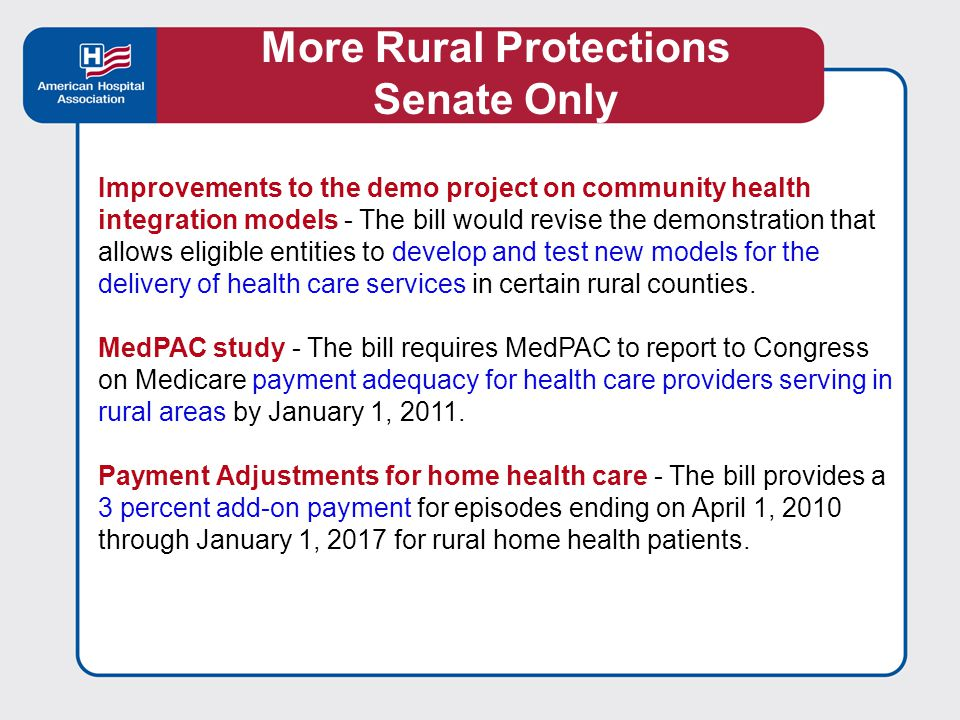 Equitable Treatment for Rural Safety-Net Providers - The Senate bill includes several special programs including: prospective payment system for ambulatory care providers grants for Family Nurse Practitioner Training Programs community-based collaborative care networks Early Detection of Certain Medical Conditions Related to Environmental Health Hazards, and creation of a payment floor Rural health clinics, FQHC look-alike clinics, and Indian health clinics also should be eligible for these programs.