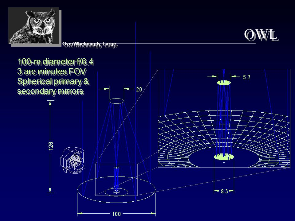 50 Meter Telescope Concept 50 m 2m diameter adaptive secondary producing collimated beam, with 1 arcmin.