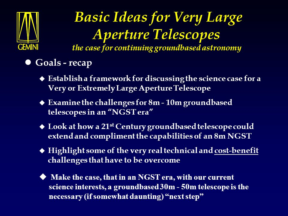 Workshop Summary (preliminary) In view of the large number of science projects identified, there is sufficient scientific interest in building a 30-50m telescope observatory.