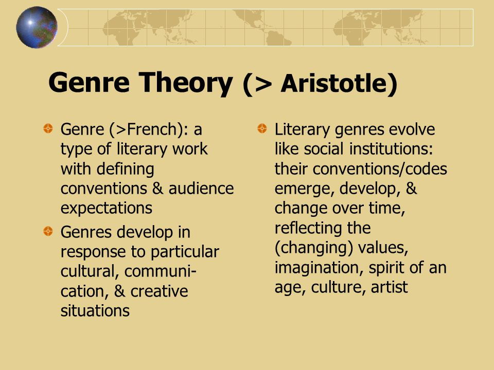 Genre History: Dialogues with Tradition Once you start making...rules, some writer will be sure to happen along and break every abstract rule you or anyone else ever thought up, and take your breath away in the process.