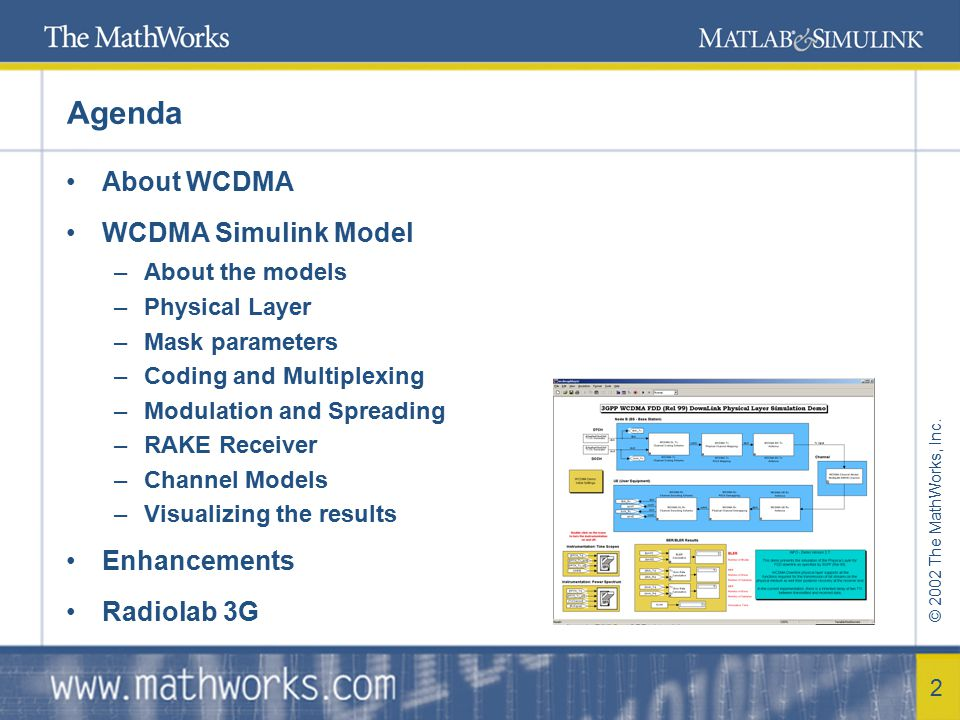 © 2002 The MathWorks, Inc.3 About WCDMA … WCDMA stands for Wideband Code Division Multiple Access.