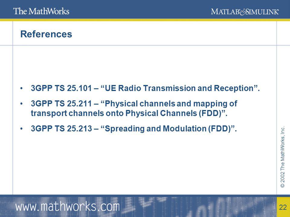 © 2002 The MathWorks, Inc.23 RAKE Receiver Standard does not defined Receiver algorithms.