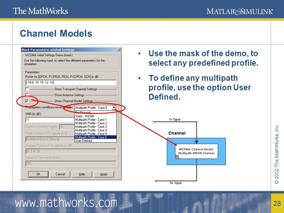 © 2002 The MathWorks, Inc. 29 References 3GPP TS 25.101 – UE Radio Transmission and Reception .