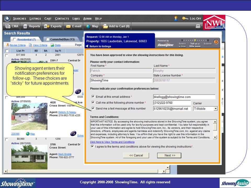 Copyright 2000-2008 ShowingTime.