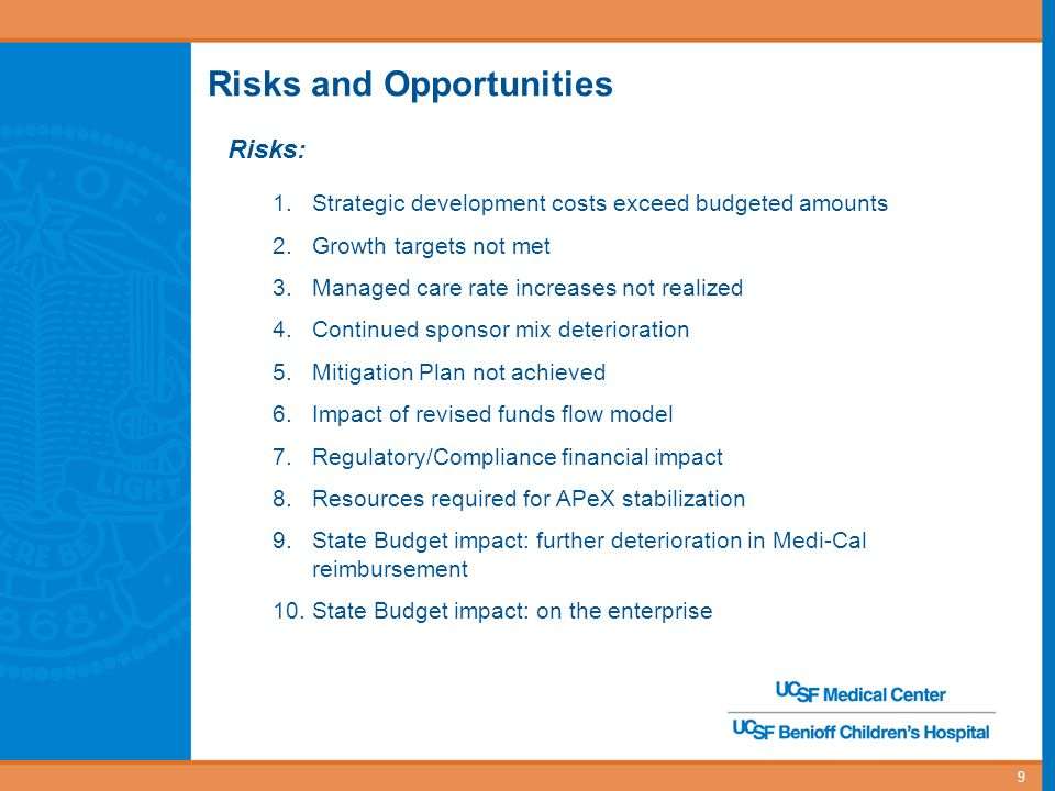 10 Risks and Opportunities Opportunities: 1.Growth exceeds expectations 2.Clinical documentation improvement exceeds expectations 3.Walgreens expansion exceeds budgeted amount 4.Early adoption of FTE productivity improvements 5.SCOPE savings surpasses target 6.Outpatient revenue expansion 7.UC medical centers' shared services
