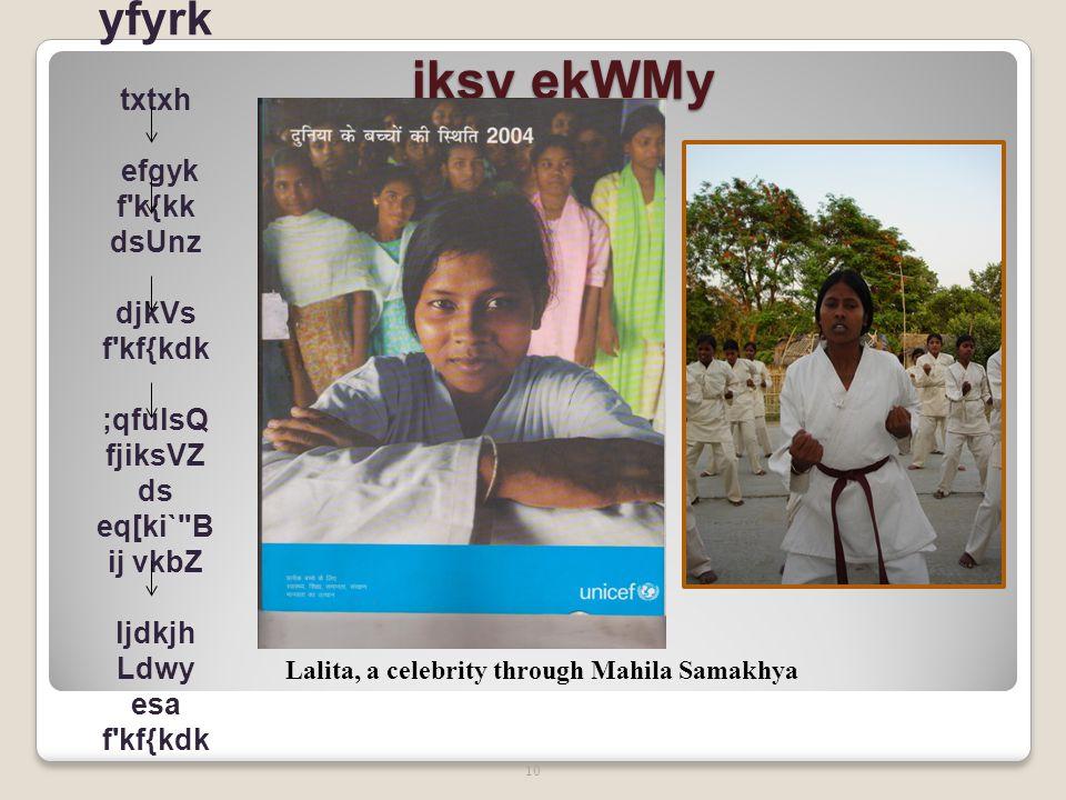 jksy ekWMy 11 xqfM+;k [kkrwu Gudiya, a celebrity through Mahila Samakhya