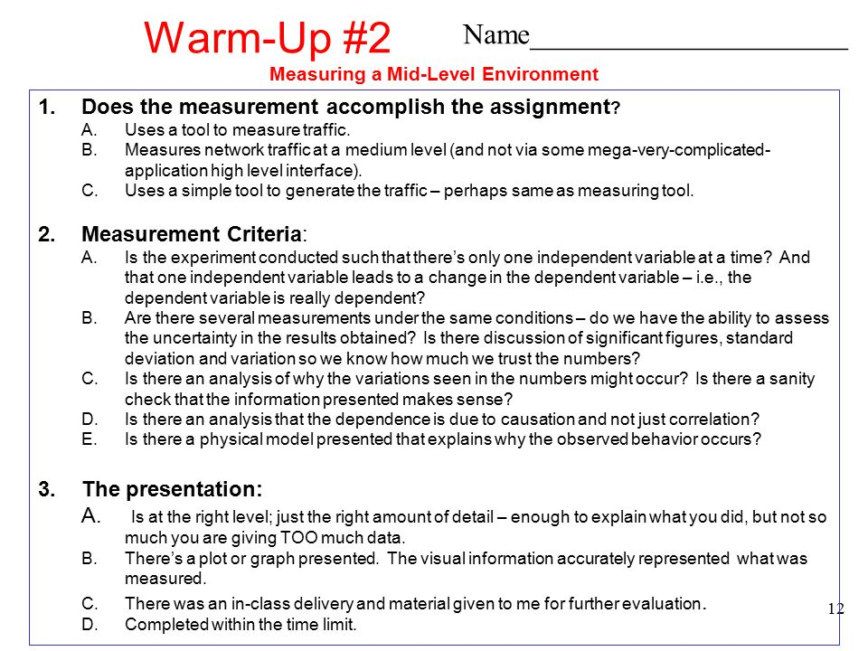 Projects Overview13 Warm-Up #3 Measure Application Performance What you need to know: 1.Chapters 14 – 18 in Network Performance 2.Class notes on simulation.