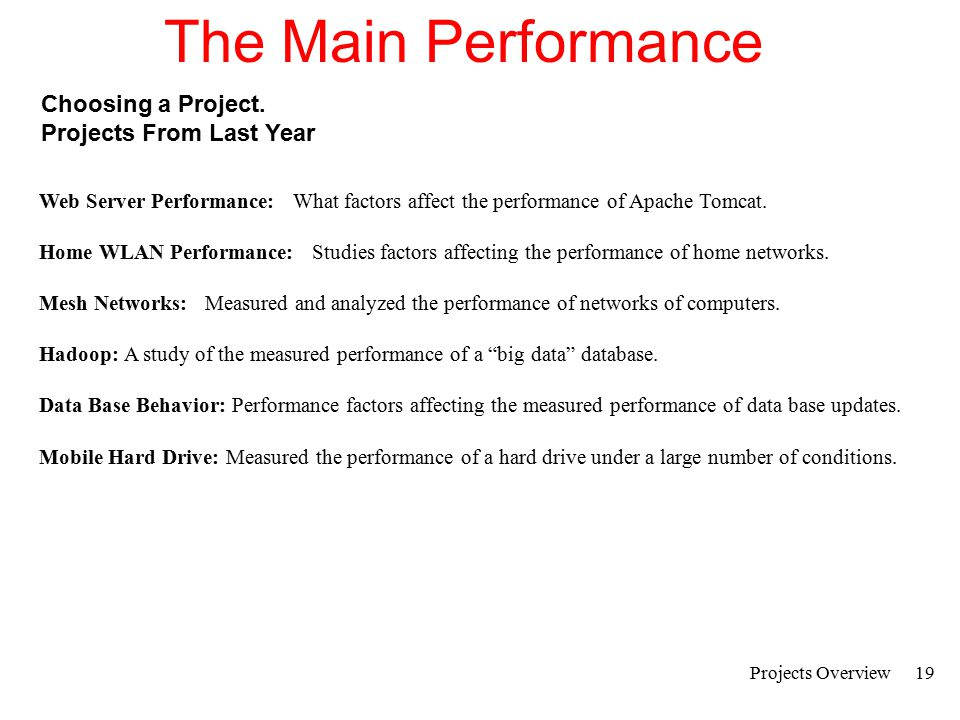 Projects Overview20 The Main Performance Project Pre-Proposal Goal:To get agreement on a topic in an informal way.