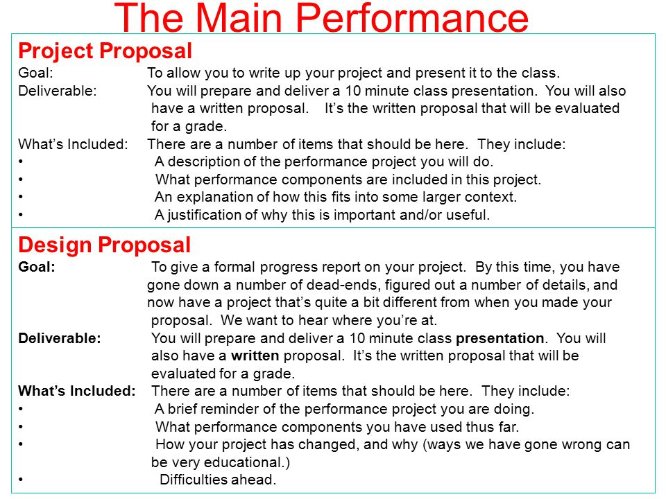 Projects Overview22 Design Proposal What you should report during this presentation: Goal: To give a status report on your project.