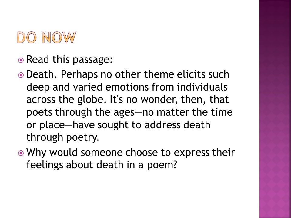  Do Now  Elegy-define, identify, analyze  Extended metaphor  Novel work in pairs (Discussion Questions/Chart completion)