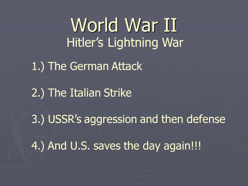 Germany Sparks a New War in Europe Germany's Lightning Attack  September 1, 1939 — Hitlers invasion of Poland  Britain, France declare war on Germany, but Poland falls quickly (How so quickly)  Blitzkrieg — lightning war — Germany's new military strategy  Planes, tanks, infantry used to surprise enemy and quickly conquer
