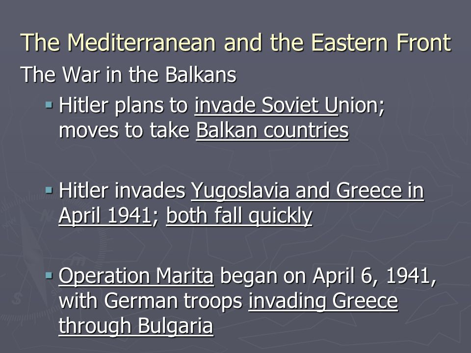 The Battle of Greece is generally regarded as a continuation of the Greco-Italian War, which began when Italian troops invaded Greece on October 28, 1940.