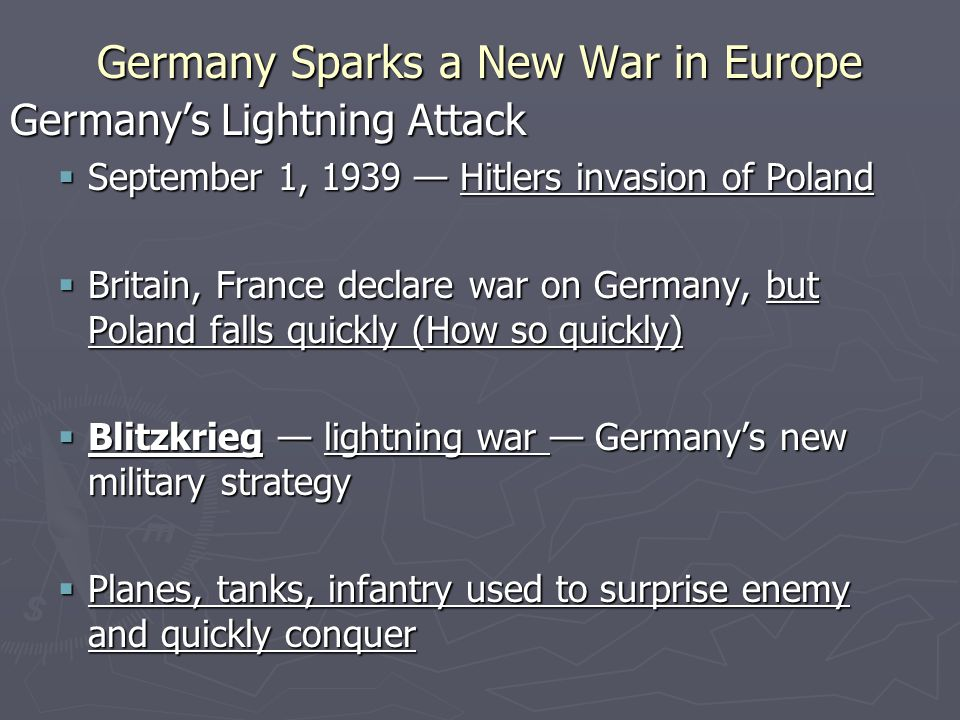 Germany's Lightning Attack The Soviets Make Their Move  Soviets capture Lithuania, Latvia, Poland, resistance met in Finland  Finland is invaded by the Soviet Union in what is called the Winter War.  Finland surrenders in March, 1940