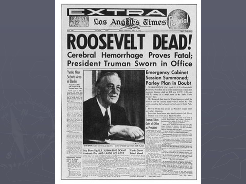 The end of Hitler ► April 30, 1945 Hitler and Eva Braun commit suicide (gun shot and cyanide) ► Bodies burned in street ► Cover of Time magazine May 7, 1945