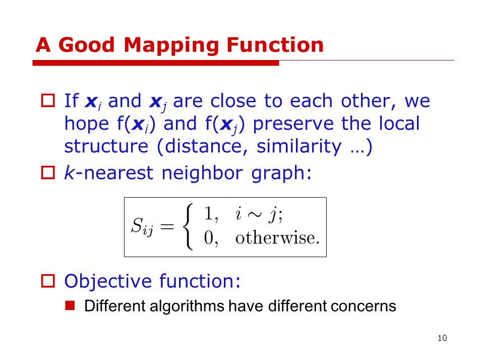 Locality Preserving Projections Principle: if x i and x j are close, then their maps y i and y j are also close.