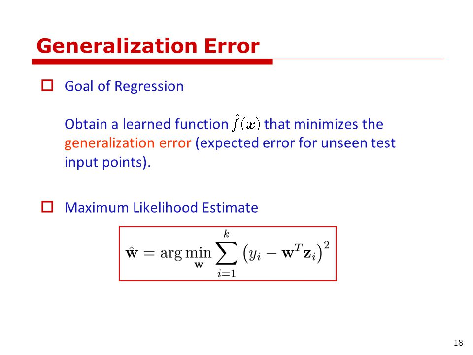Gauss-Markov Theorem For a given x, the expected prediction error is: 19