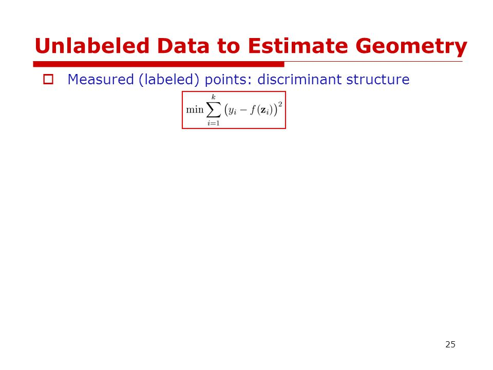 Unlabeled Data to Estimate Geometry  Measured (labeled) points: discriminant structure  Unmeasured (unlabeled) points: geometrical structure 26