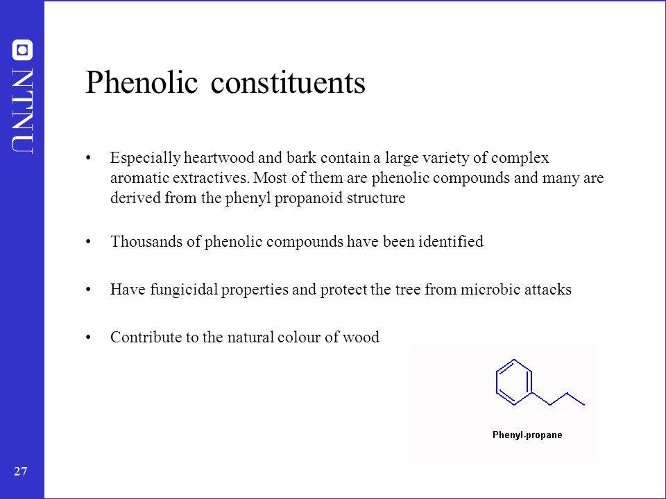 28 Phenolic constituents Stilbenes: - Derivatives of 1,2-diphenylethylene - Conjugated double bond system - Reactive components in acidic sulphite pulping inhibiting the delignification - Typical member is pinosylvin, present in pines