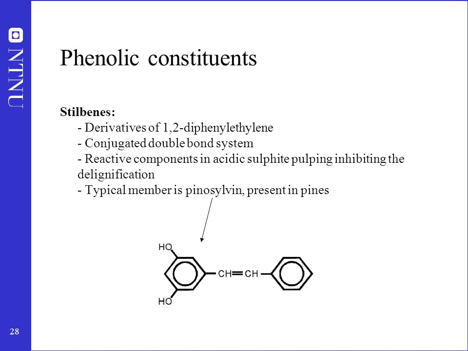 29 Phenolic constituents Lignans: - Formed by oxidative coupling of two phenylpropane units - Most usual in spruce wood - Commercially attractive products Pinoresinol