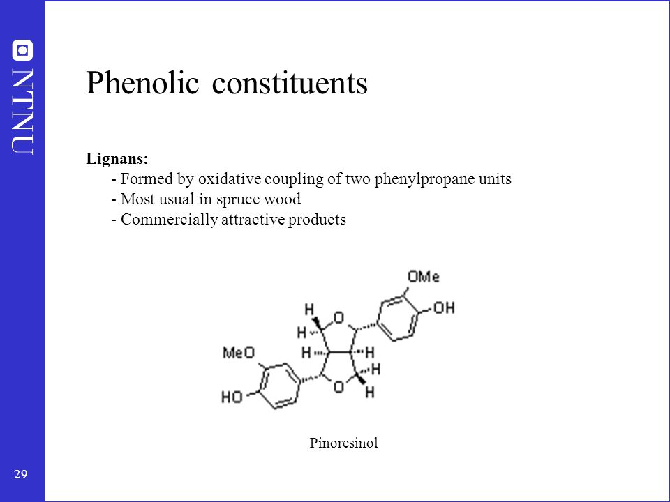 30 Phenolic constituents Hydrolyzable tannins Condensed tannins Flavonoids - small amounts Taxifolin (Flavonoids) Tannins