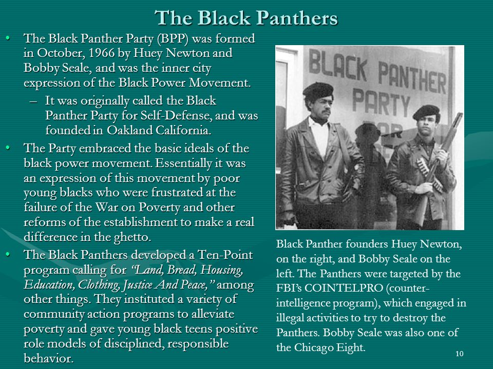 11 The Black Panthers While Stokely Carmichael embraced Black Power, Huey Newton and Bobby Seale embraced the Marxist notion of power to the people! and considered the black underclass an urban proletariat.While Stokely Carmichael embraced Black Power, Huey Newton and Bobby Seale embraced the Marxist notion of power to the people! and considered the black underclass an urban proletariat.