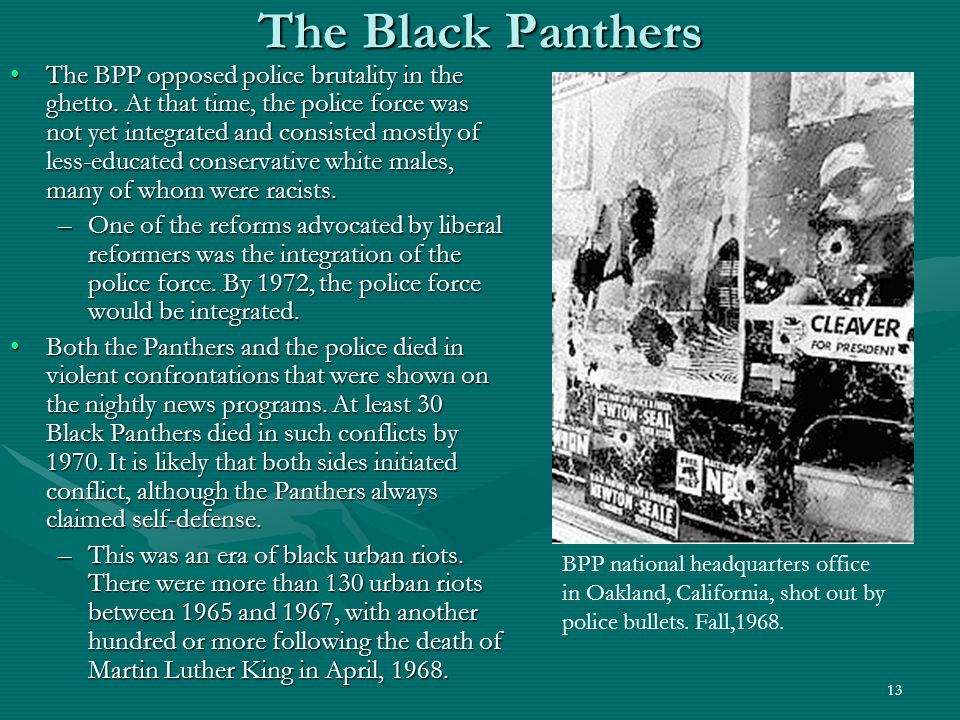 14 The Decline of the Black Panthers In August, 1967, the FBI instructed COINTELPRO to neutralize what they called black nationalist hate groups and the BPP was targeted for elimination.