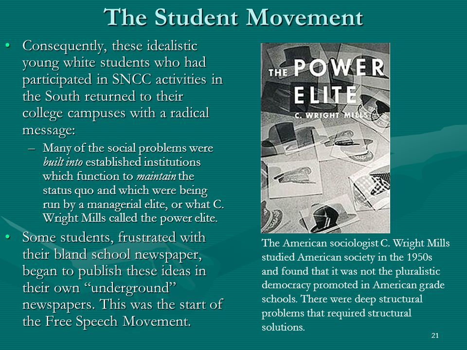 22 The Underground Press One of the main flowers of the free speech movement was the proliferation of underground newspapers across the country – on and off the campus.